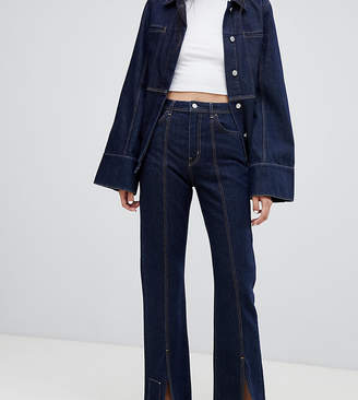 002a68fed840a8 Weekday Limited Collection mom jeans with front seam and slit hem with  organic cotton
