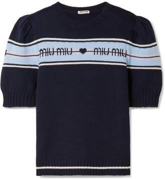 Miu Miu Intarsia Wool Sweater - Midnight blue