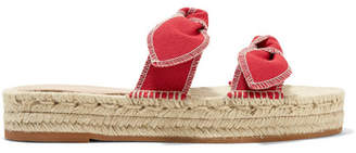Loeffler Randall Daisy Bow-embellished Canvas Espadrille Slides - Red