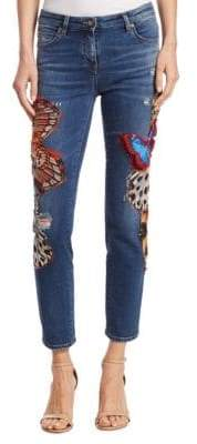 Roberto Cavalli Cropped Butterfly Jeans