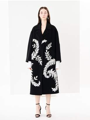 Oscar de la Renta Lace-Embroidered Wool-Felt Coat