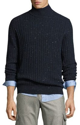 Brunello Cucinelli Donegal Ribbed-Knit Turtleneck Sweater, Navy $1,275 thestylecure.com