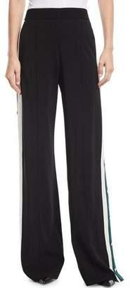Veronica Beard Russo High-Waist Side-Snap Wide-Leg Trousers