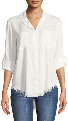 Velvet Heart Riley Fringe-Hem Button-Front Blouse