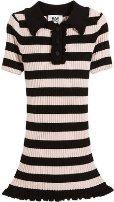 Milly Minis Ribbed Striped Ruffle-Trim Polo Dress, Size 8-14