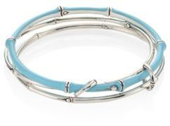John Hardy Bamboo Multi-Row Enamel & Sterling Silver Bangle Bracelet $695 thestylecure.com