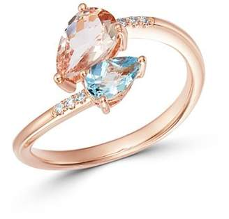 Bloomingdale's Morganite & Aquamarine Pear Shaped Bypass Ring in 14K Rose Gold - 100% Exclusive
