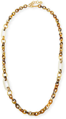 NEST Jewelry Horn Link Necklace w/ Bone & Golden Accents, 36""