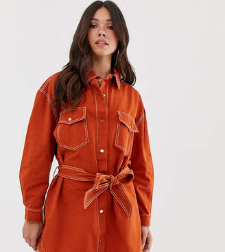 Missguided denim shirt dress with contrast stitch and tie waist in rust
