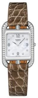 Hermes Cape Cod Stainless Steel Alligator Leather Diamonds Square Watch