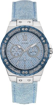 GUESS Women's Sky Blue Sparkle Denim on Leather Strap Watch 39mm U0775L1 $125 thestylecure.com