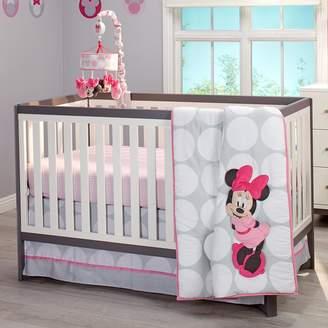 Disney Minnie Mouse Polka Dots 4 Piece Diaper Stacker Nursery Crib Bedding Set, Light Pink/White/Grey/Bright Raspberry