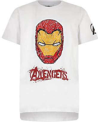 River Island Boys white Iron Man reverse sequin T-shirt