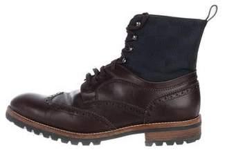 Louis Vuitton Leather Damier Wingtip Brogue Boots