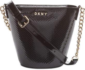 DKNY Kim Snake-Embossed Chain Leather Bucket Bag