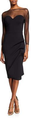 Chiara Boni Sweetheart Illusion 3/4-Sleeve Dress with Side-Shirred Skirt