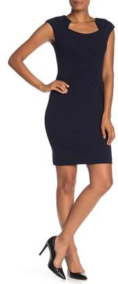 Calvin Klein Solid Ruched Crepe Sheath Dress