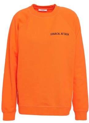 Ganni Lott Isoli Embroidered French Cotton-terry Sweatshirt