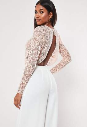 Missguided Pink Long Sleeve Lace Crop Top
