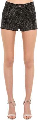 Philipp Plein Embellished Cotton Blend Denim Shorts