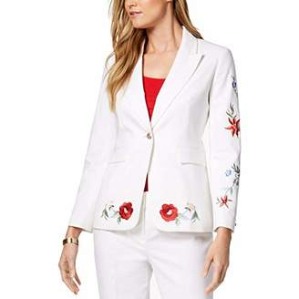 Nine West Women's 1 BTN Double Weave JKT with Scattered Embroidery