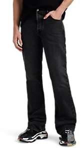 Balenciaga Men's Faded Boot-Cut Jeans - Black