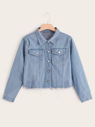 Shein Plus Button Front Raw Hem Denim Jacket