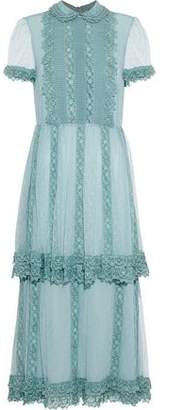 RED Valentino Lace-Trimmed Tiered Silk Point D'esprit Midi Dress