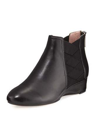 Taryn Rose Folks Leather Demi-Wedge Bootie, Black $175 thestylecure.com