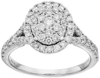 Vera Wang Simply Vera 10th Anniversary 14k White Gold 1 ct. T.W. Diamond Cluster Engagement Ring