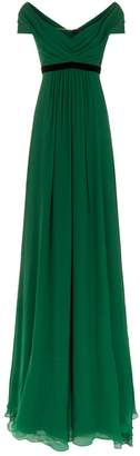 Jenny Packham Lucerne Belted Chiffon Gown