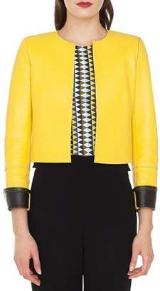 Akris Sarita No-Closure Lamb Leather Cropped Bolero Jacket