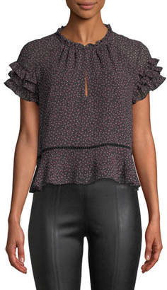 Rebecca Minkoff Desiree Floral-Print Ruffle Top