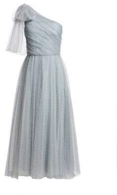 RED Valentino Pleated Tulle Polka-Dot Midi Dress