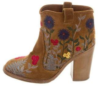Laurence Dacade Embroidered Suede Ankle Boots