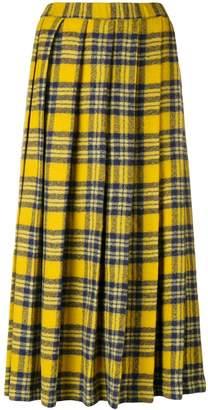 Aspesi pleated plaid midi skirt