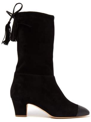 Rupert Sanderson Tiptoe Square Toe Slouchy Suede Boots - Womens - Black