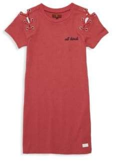 7 For All Mankind Girl's Lace-Up Shoulder T-Shirt Dress