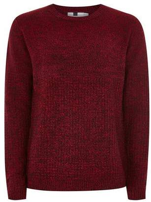 Topman Mens Red And Black Twist Grid Sweater