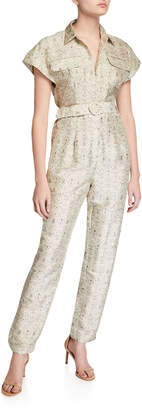 SIR the Label Siena Printed Short-Sleeve Belted Jumpsuit