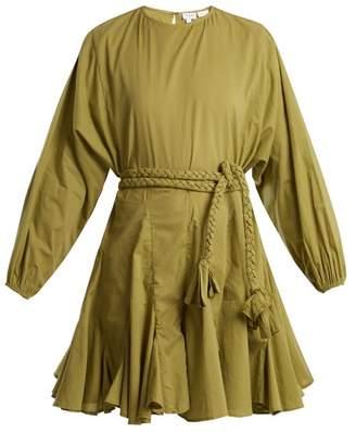 Rhode Resort - Ella Round Neck Tie Waist Cotton Dress - Womens - Khaki