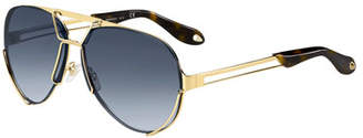 Givenchy Double-Wire Aviator Sunglasses