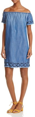 Bella Dahl Embroidered Chambray Off-the-Shoulder Dress - 100% Exclusive $189 thestylecure.com