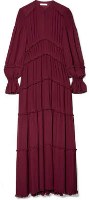 Tory Burch Stella Ruffled Pleated Chiffon Maxi Dress - Burgundy