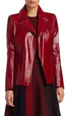 Akris Punto Patent Leather Moto Jacket