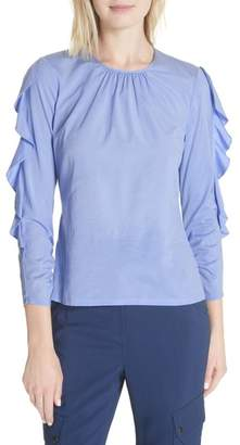 Tracy Reese Frilled Stretch Silk Top