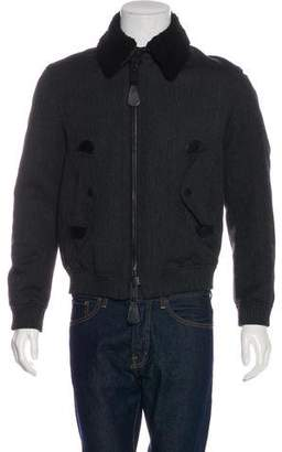 Burberry Shearling-Trimmed Wool & Mohair-Blend Jacket