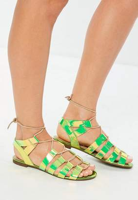 Missguided Green Iridescent Snake Print Gladiator Sandals