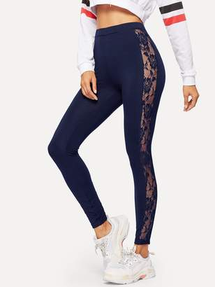 Shein Floral Lace Insert Solid Leggings