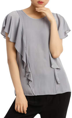 Basque Ruffle Front Bruised Poly Top